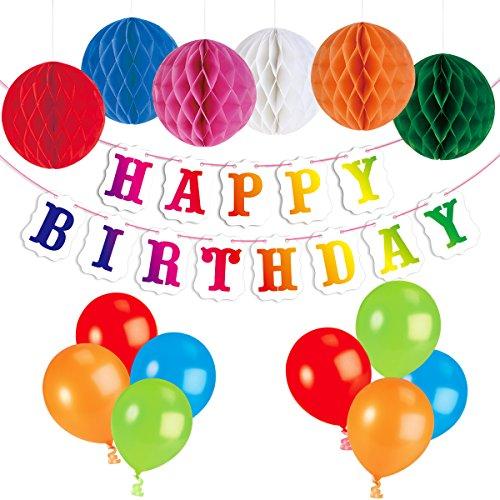 Preisvergleich Produktbild PBPBOX Kindergeburtstag Deko 1 ballonpumpe, 24 Luftballons Geburtstag Girlande, 6 Bunte Papier Wabenbälle