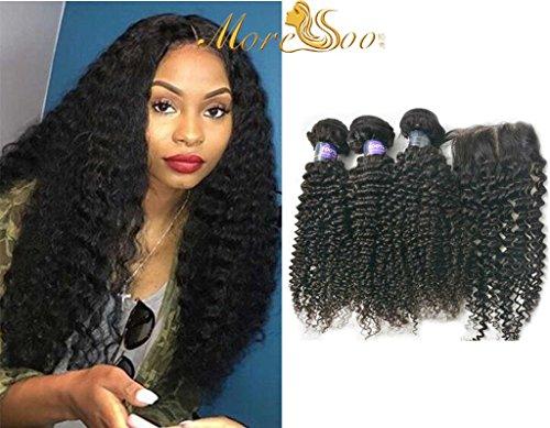 Moresoo Crepus Boucle Kinky Curl Tissage 14 pouces/35cm (300gram) Et 10 pouces Closure (4*4 pouces) Bresilien Cheveux Naturel Vierge Pour Fabriquer Une Perruque
