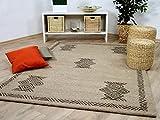 Theko Natur Teppich Berber Aruna Beige Bordüre in 7 Größen