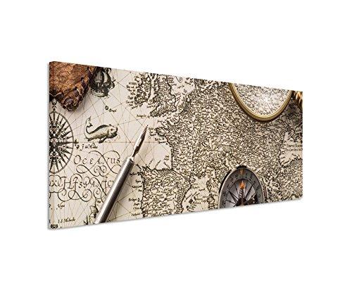 Bild 120x40cm Kunstbilder – Weltkarte mit Kompass, Lupe und Federhalter