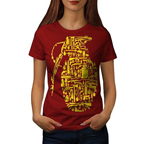 98d8ae0d1517e4 Gewehr Granate Krieg Gangster Damen S-2XL T-shirt   Wellcoda Red