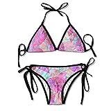 Colored Leaves Sexy Women Beach Swimwear Two Pieces Bathing Suit Bikini Top
