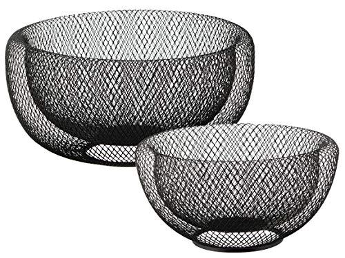 Bada Bing 2er Set Metall Korb Drahtgeflecht Obstkorb In 2 Größen Aus Draht Schwarz Metallkorb Dekoschale Modern Rund Metall Design 2fach 54