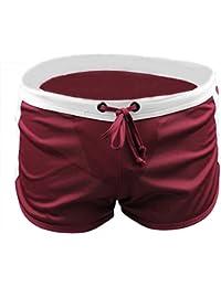 Demarkt® Maillot de bain/ Boxer Trunks Shorts/ Pantalon Court de Sport/ Short de bain pour Hommes - Rouge foncé - Taille S/M/L