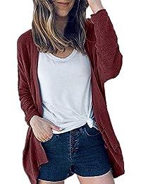 2aec321ac053c6 FNKDOR Womens Ladies Solid Irregular Hem Long Sleeve Open Front Cardigan  Coat Parka Outerwear