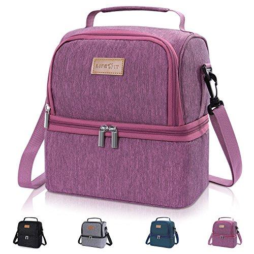 Lifewit borsa termica manutenzione di freddo e caldo porta pranzo cibo alimentazione lunch box da 7litri per campeggio lavoro scuola con doppia sezione, rosa