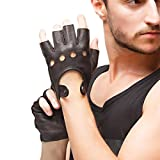 Nappaglo Herren Hirschleder Fingerlose Handschuhe Halbfinger Lederhandschuhe für fahren Motorrad Radfahren Ungefüttert Handschuhe (XXL (Umfang der Handfläche:24.1-25.4cm), Braun)