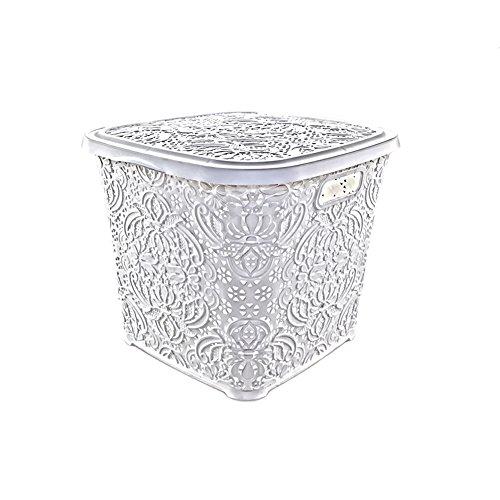 Klappbox MADELINE weiß mit wunderschönem Ornamentmuster
