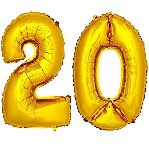 on Zahlenballon Luftballon Geburtstag Deko 40cm Gold Zahl: 20 ()
