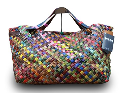 Made in Italy Damen Henkeltasche Schultertasche Shopper Bag Echt Leder Retro Vintage Geflochten Bunt