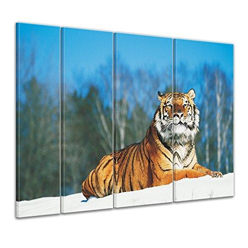 Bilderdepot24 Immagine su telaio a cunei Tigre nella neve - 180 x 120 cm set 4 pezzi - Già montato sul telaio, Stampa artistica intelaiata e pronta da appendere