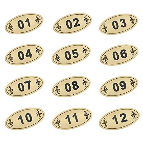 Aspire 25PCS Oval Tür Nummer/Locker Nummer Tag mit Klebeband, ABS, goldfarben, 51to75