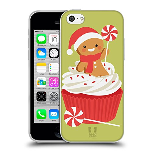Head Case Designs Angelo Cartoni Di Un Felice Natale Cover Morbida In Gel Per Apple iPhone 6 / 6s Cupcake Di Menta Piperita