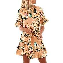 ALAIX Boho Vestidos con Estampado Floral Manga Corta Volante Dobladillo Casual Mini Vestido para Mujer