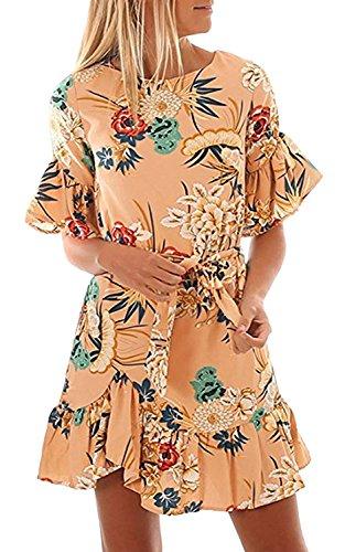 ALAIX Damen Freizeit Kleid Kurzärmeliges Figurbetontes Muster druckte kleider für Damen Aprikose-S