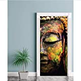 Türtapete Foto tapete 77X200 Cm 3D Buddha Status Kunst Tür Wandbild Tapete Wandaufkleber Aufkleber Wandtattoo Foto Selbstklebend Wohnkultur