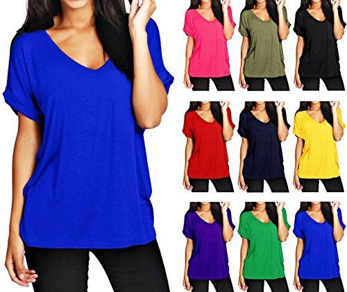 Butterme Sommer Frauen mit V-Ausschnitt beiläufige kurze Hülsen oversize T-Shirt Bluse Tees Tops Dunkelblau