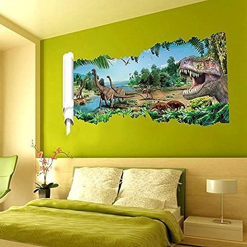 Sticker mural décoration murale sticker mural pour chambre d'enfant Dinosaures Stickers 3D paysage (22)