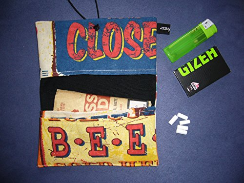 Büroteuse Tabaktasche / Drehertasche im buntem Blechschild-Design, jede Tasche ein Unikat! Blechschild