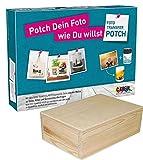 Foto Transfer Potch Set–für Drucke und Stempel + Box Holzkiste Kiefer massiv zum Dekorieren 29x 21x 7cm