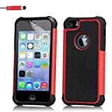 iPhone 4 4S Case by 32nd Shockproof Heavy Duty Defender Tough Shell Cover Suitable for Apple iPhone 4 4S - Red