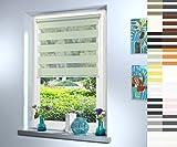 Doppelrollo nach Maß, hochqualitative Wertarbeit, alle Größen und 18 Farben verfügbar, inkl. Seitenführung, Rollo nach Maß, Duo Rollo, für Fenster und Türen, Klemmfix ohne Bohren (120cm Höhe x 80cm Breite / Light Green)