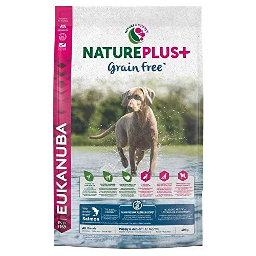 Eukanuba Nature Plus Puppy & Junior all Breed Salmon Grain Free per Cani Cuccioli e Giovani di Tutte Le Taglie con Salmone - 10 kg