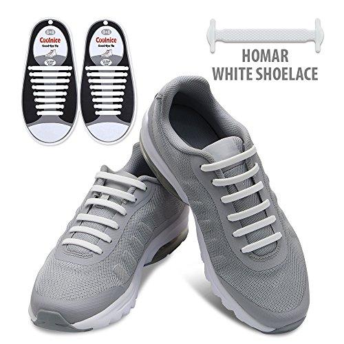 Homar No Tie Lacci per scarpe per bambini e adulti - Impermeabile in silicone elastico piatto Laces Athletic scarpa da corsa con multicolore per Scarpe Sneakerboots bordo e scarpe casual (Adult Size White)
