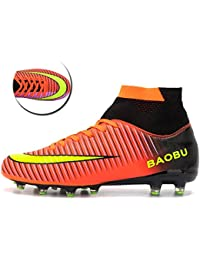 BIGU Football Boots Men's Boy's High Top AG Spikes Football Shoes Teenagers Training Shoes Professional Outdoor Anti-Skid Breathable Soccer Shoes Unisex