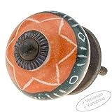 Möbelknopf Möbelknauf Möbelgriff JKE0183 7005-A orange grün R4-215 Keramik Porzellan handbemalte Vintage Möbelknöpfe für Schrank, Schublade, Kommode, Tür von Jay Knopf