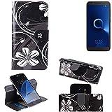 K-S-Trade Schutzhülle für Alcatel 1C Single SIM Hülle 360° Wallet Case Schutz Hülle ''Flowers'' Smartphone Flip Cover Flipstyle Tasche Handyhülle schwarz-weiß 1x