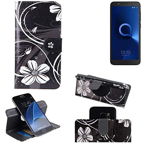 K-S-Trade Schutzhülle Alcatel 1C Single SIM Hülle 360° Wallet Case Schutz Hülle ''Flowers'' Smartphone Flip Cover Flipstyle Tasche Handyhülle schwarz-weiß 1x