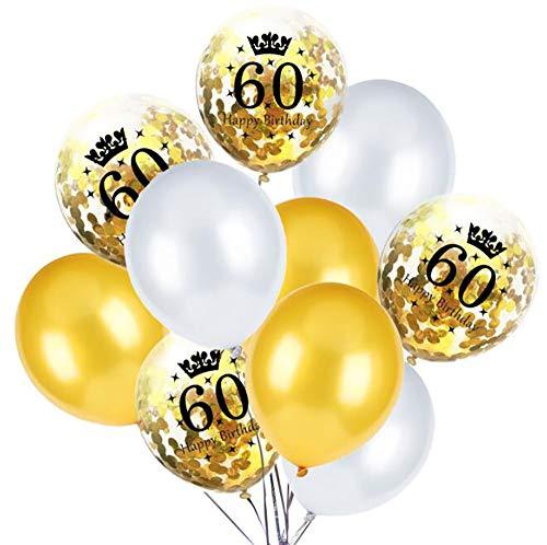 20 stücke 60. Geburtstag Latex Ballons Konfetti Ballons Party Ballons für Geburtstagsfeierversorgungen Dekoration, 12 Zoll (Gold & Weiß) (Mittelstücke Und Gold Weißen)