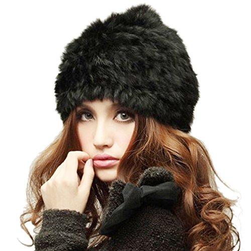 Belsen Donna coniglio caldo Cappello inverno Berretti in maglia pelliccia sci mucchi Cap (nero)