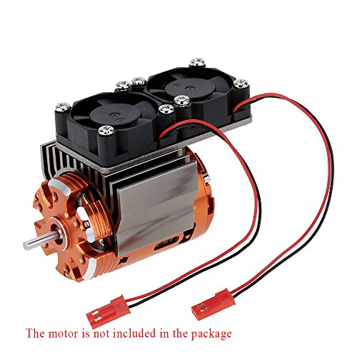 Baoblaze Motor Kühlkörper mit 2 Lüfter für 1/10 HSP RC Rennauto Motor 540/550, Motorkühlung Zubehör Zwei Lüfter schützen den Motor vor Überhitzung - Titan
