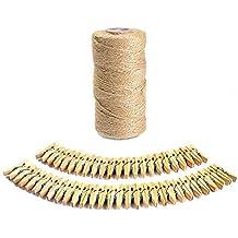 ATPWONZ 100m Hilo Natural Yute Cordel de Cáñamo Cuerda de Bricolaje con 50pcs Mini Pinzas de Madera Sólido Tejida a Mano Etiqueta Decorativa