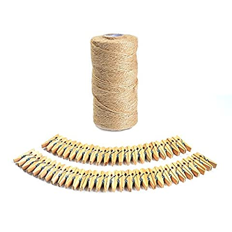 ATPWONZ 100 Meter Jute Twine Natural Hessian String Rope Brown Twine with 50 Mini Wood Pegs Craft Clips