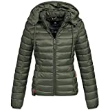 Marikoo Damen Stepp Jacke Daunen Look Gesteppt Übergang XS-XXL 10-Farben, Größe:S / 36;Farbe:Olive Grün