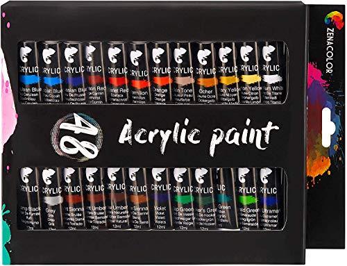 Zenacolor Set da 48 Tubetti di Pittura Acrilica, Colori Acrilici - Confezione da 48 x 12mL