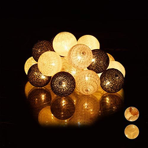 Relaxdays LED Lichterkette mit 20 Baumwollkugeln, batteriebetrieben, Stimmungslichter, Kugeln 6 cm Ø, weiß/grau/schwarz