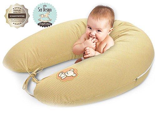 Sei Design Stillkissen Schwangerschaftskissen 170x30cm. Füllung: schadstoffgeprüfte 3-D Faserbällchen Ökotex zertifiziert. Bezug mit Reißverschluss. Ideal für unterwegs Sand-Bärchen
