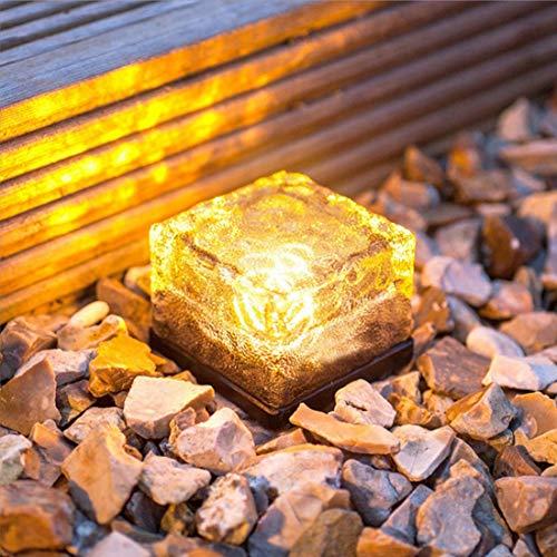 Wlight (4pcs) Outdoor Solar EIS Ziegel Licht Garten Garten dekoratives Licht Solar Rasen U-Bahn Licht Square Ziegel Licht,4warmwhite -