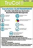 T-Shirt Textil-Transferfolie FÜR Helle Stoffe Textilien Din A4 Klar Transparent Zum Aufbügeln und Selbst Gestalten (20 Blatt) - für Laserdrucker und Kopierer