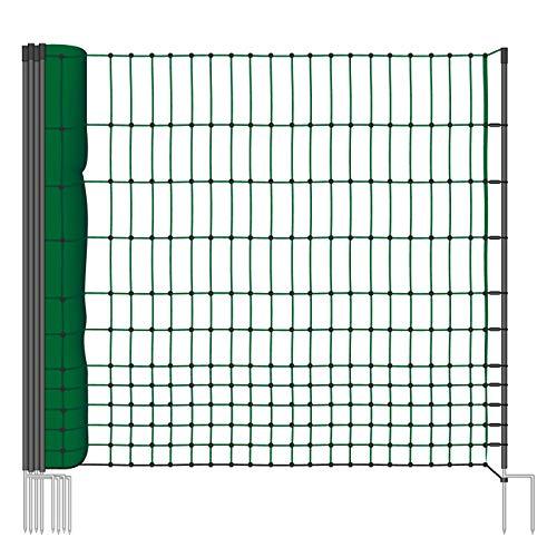 VOSS.farming Geflügelnetz 112cm Classic 25m | Hühnerzaun Geflügelzaun Hühnernetz | 9 Pfähle 2 Spitzen | Grün | ohne Strom (Lamm-mobile)