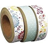 Rayher - 57349000 - Washi Tape Set: Sugar Flowers 1, 15mm, 10m, sortiert, auf Rolle, SB-Box 3Stück