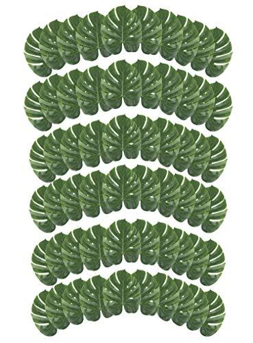 Juvale Tropische Palmenblätter - 60 Stück Sommerluau-Party-Dekorationen, Strand, Hochzeit, Inseln, Tropische Themen, Dekoration, Safari-Pflanzenblätter, Grün, 34 x 28 cm