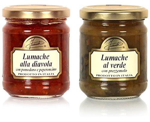"""Escargots des Alpes - En sauce """"Verde"""" et en sauce Rouge au Chilli (2 x 180 g)"""
