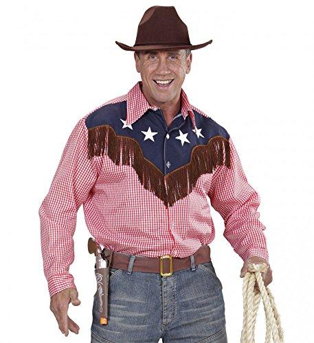 Cowboy-Hemd für Herren mit Sternen Western Kostüm Wilder Westen Wildwest Rodeo, Größe:M/L