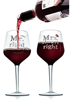 2 x MR /& MRS Always Right Red Wine Glasses Contemporary Drinking Glass Set Xmas