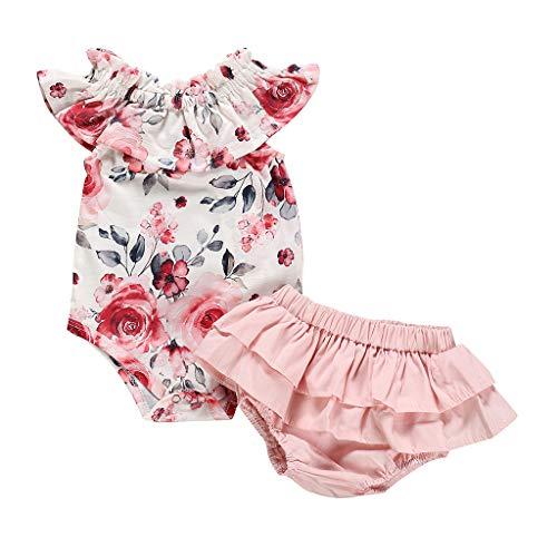 Babykleidung Mädchen Sommer,Covermason Neugeborene Kinder Baby Mädchen Strampler Kleider Blumen Bodysuit Overall Jumpsuit + Kuchen Shorts Outfit-Set